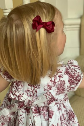 Burgundy Bow Hair Clip